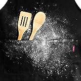 MKHB Schürze Kochschürze Küchenschürze 100% Baumwolle, verstellbares Nackenband, Kochmütze, Schwarz, für Männer und Frauen - 6