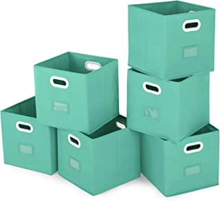 Magicfly Storage Cube Set of 6 Collapsible Closet Bins for Shelves 12X 12 Inch Storage Bins with Label Holders and Dual Plastic Handle for Home Organizer, Mint Green