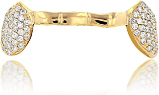 18K Unique Diamond Grillz Jewelry 0.8 Ctw (Yellow Gold)