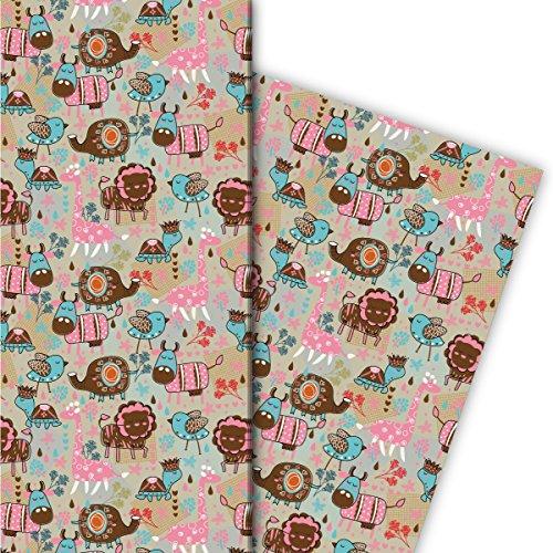 Kartenkaufrausch vrolijk retro kindercadeaupapier set 4 vellen, decoratief papier, patroonpapier om in te pakken met kleurrijke dieren, bruin, voor leuke geschenkverpakking, designpapier 32 x 48 cm