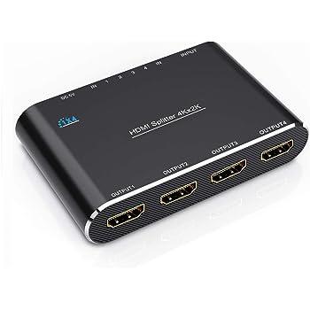 HDMI分配器、GANA 4K 1入力4出力 3D HDMIスプリッター 1080P DVD PC PS4 HDTV プロジェクターなど対応 給電アダプター付き