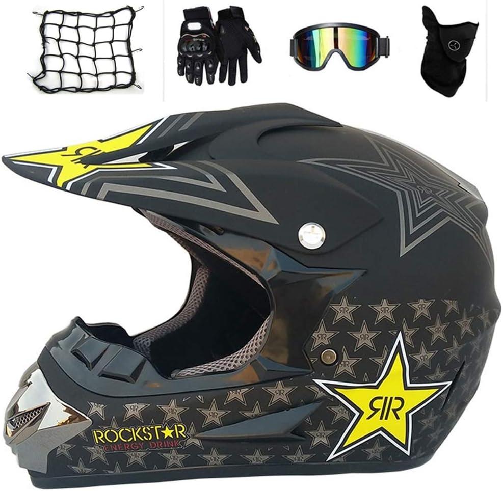 Vomi Motocross Helm Kinder Motorradhelm Mattschwarz Rockstar Crosshelm Schutzhelm Mit Abnehmbares Ohrkissen Sicherheit Schutz Kit Für Mtb Enduro Bmx Downhill Offroad M Sport Freizeit