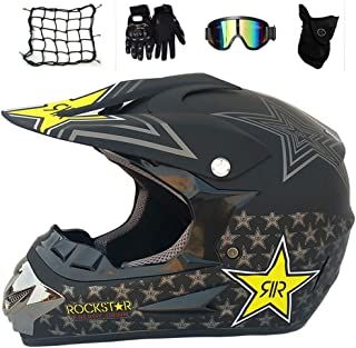 Fodera Rimovibile Casco Integrale MTB Enduro Casco da Motocross Uomo Nero Opaco Casco Cross Adulto Professionale Casco Motociclista per Downhill Moto Offroad Scooter Sport