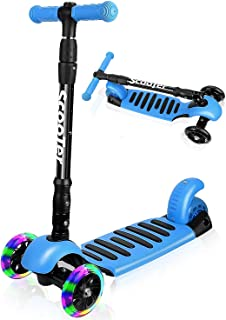 I·CODE Scooter for Kids, Premium 3 Wheel Kick Scooter with Anti-Slip Deck,Flashing Wheels,Lean to Steer for Toddler Girls ...