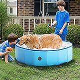 RELIANCER Foldable Dog Swimming Pool 47' Folding Pet Bath Pool Collapsible Cat Bathtub Portable PVC Kiddie Pool Spa Bathing Wash Tub Water Pond Pool Toddler Baby Bath Kids Play Pool Whelping Box