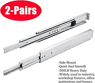 SOTTAE 12 Inch 500LB Capacity Heavy Duty Full Extension Ball Bearing Side Mount Drawer Slides - 2 Pairs,Mounting Screws Included, Available in 10'', 12'', 14'', 16'', 18'', 20'' and 22'' Lengths