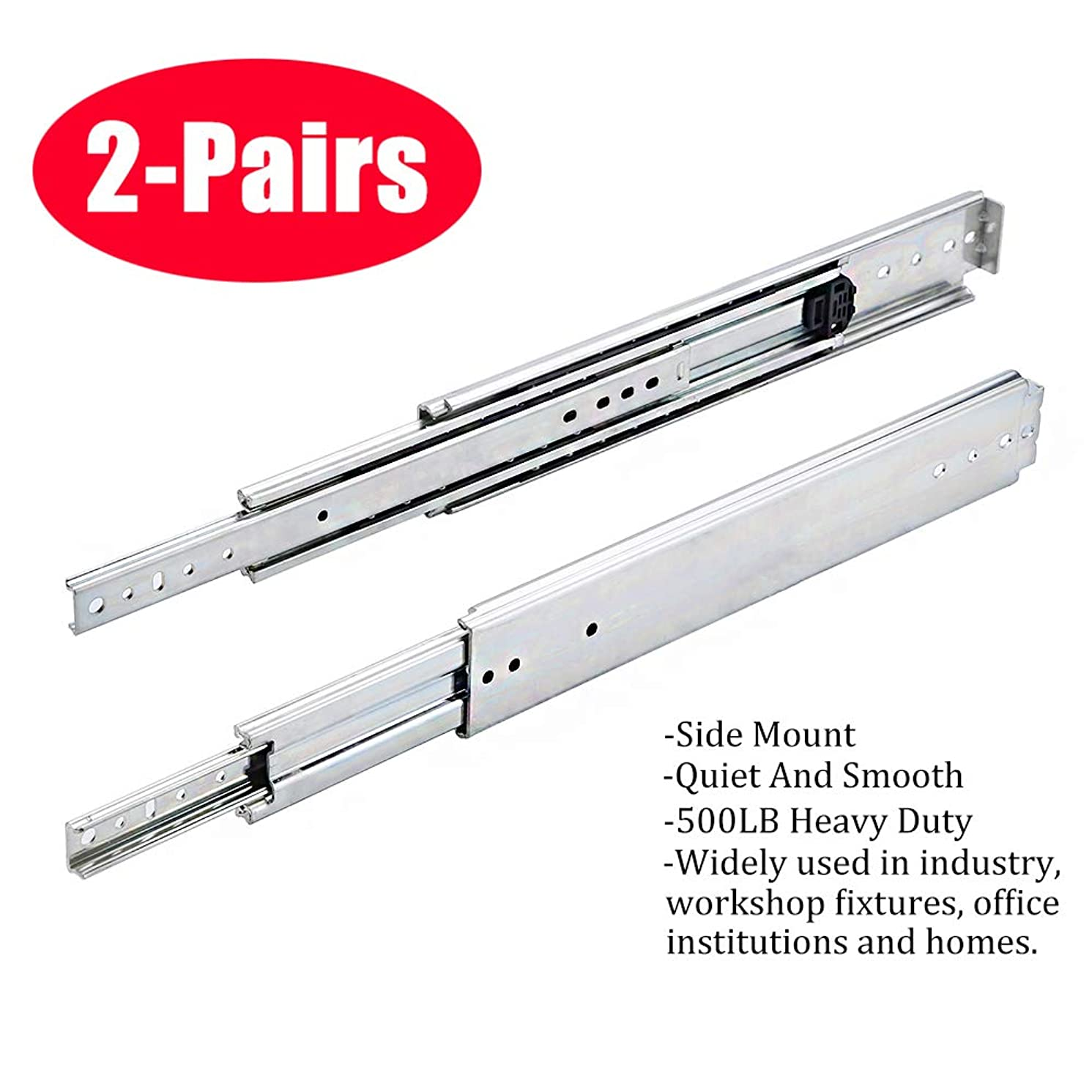 SOTTAE 16 Inch 500LB Capacity Heavy Duty Full Extension Ball Bearing Side Mount Drawer Slides - 2 Pairs,Mounting Screws Included, Available in 10'', 12'', 14'', 16'', 18'', 20'' and 22'' Lengths