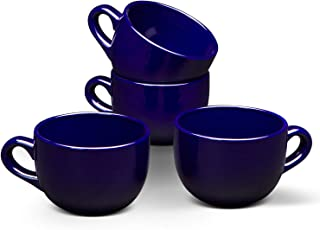 Serami 22oz Cobalt Blue Ceramic Large Soup or Cappuccino Bowl Mugs with Thick Walls, Set of 4