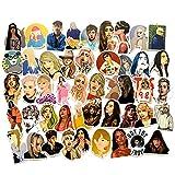 BLOUR 100 Cantantes de Estrellas Europeas y Americanas Set Graffiti Sticker Rod Box Casco Coche eléctrico Etiqueta Mate
