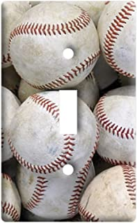 Baseballs - Plastic Wall Decor Toggle Light Switch Plate Cover