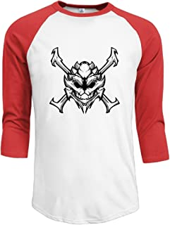 Men's Contrast Color Free Turian Skull Amblem Raglan Baseball T-Shirt