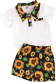 YOUNGER TREE Toddler Baby Boys Girls Summer Clothes Sets Short Sleeve Stand Collar T-Shirt + Floral Short Pants Little Kids Outfits 2Pcs