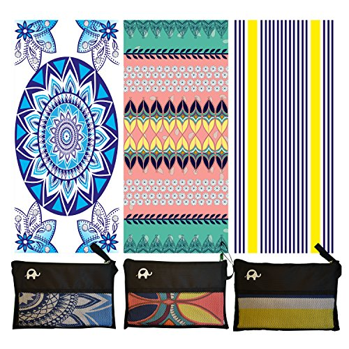 Microfiber Beach Towel for Travel - Oversized XL 78 x 35 Inch Lightweight, Quick Dry, Sand Free, Extra Large Towels & Blanket - Perfect for Swimmers, Camping, Gym,Yoga