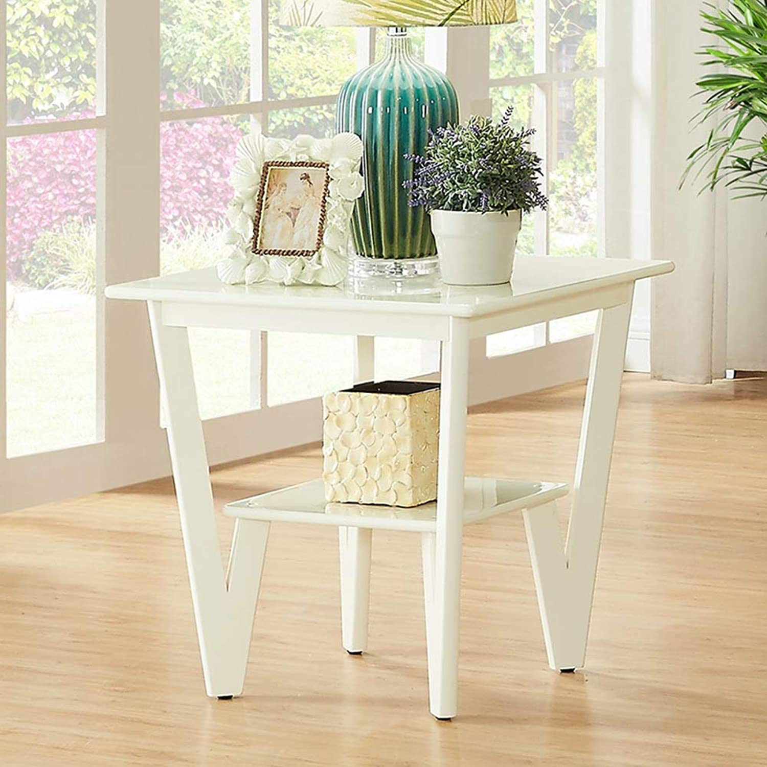 Virod-Desks Corner Table, Solid Wood Side Table, Double Storage Shelf, Small Square Table, Suitable for Sofa Side Bedside Modern Style (color   White)