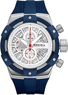 Brera Orologi Men's Supersportivo White, Steel & Blue 48mm BRSSC4921E
