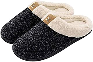 Cozy Memory Foam Slippers Wool-Like Plush Fleece Lined House Shoes with Anti-Skid Rubber Sole for Indoor Outdoor