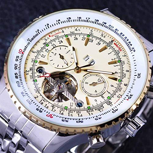 UNJ Reloj de Pulsera automático Amarillo para Hombre,UN