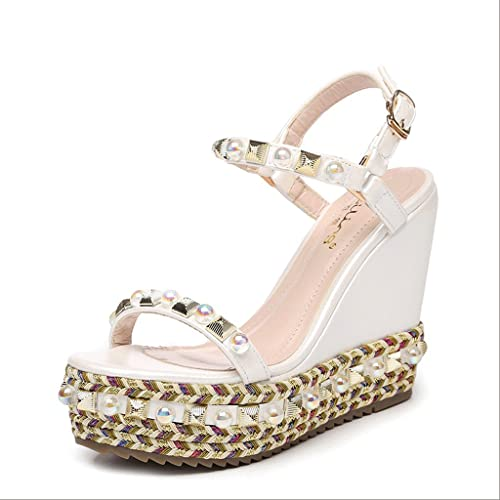 HY Summer Fashion Wedges Sandales rivets ronds Toe Toe Open Toe talons hauts (Couleur   Blanc, taille   37)