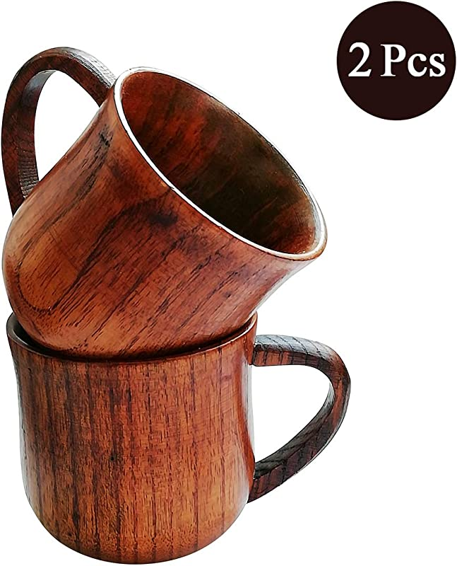 Natural Solid Wooden Tea Cup Set Elegant Japanese Jujube Wood Coffee Mug Handcrafted Small Desk Cup With Handle 2 Pcs