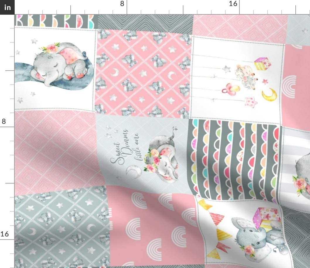 Limited time sale Spoonflower Fabric - Pink Elephant Baby lowest price Patchwork Che Quilt Girl