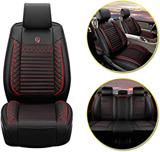Longzhimei Car Seat Covers for VOLVO C70 S40 S60 S80 S90 V40 V60 Waterproof Breathable 5 Seats Full Set Front Rear Car Seat Cushion Cover (Black and Red)