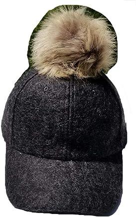 5a82129f7c7 Hooked on Pickin  Womens Mens Unisex Faux Fox Fur Pom Pom Suede Wool Look  Baseball