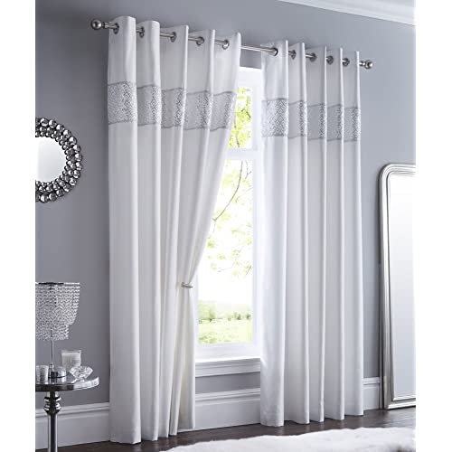 b39d8696291 WHITE LINED CURTAINS EYELET RING TOP Luxury Faux Silk with Sequin    diamante trim (66
