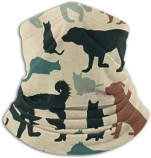 Lsjuee Mezza, ghetta, copricapo resistente, bandana, passamontagna, sciarpa tubolare, modello vintage di gatti e cani scal...