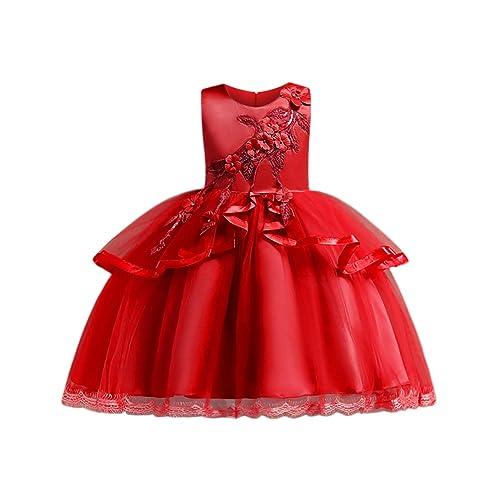 Blevonh Girls Sleeveless Bridesmaid Ruffles Wedding Dresses Kids Ball Gown