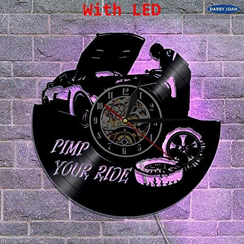 Reloj de Pared de Vinilo para Coche de reparación de 7 Colores,decoración de Pared de Garaje,Reloj dePared con Tema de Pimp Your Ride con iluminación LED