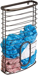 mDesign Metal Wire Wall Mount Kitchen Cabinet Storage Organizer Holder Basket - Hang on Cabinet Doors or Walls in Kitchen, Pantry, Utility Closet - Holds up to 50 Plastic Shopping Bags - Bronze