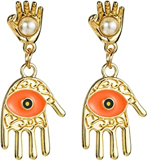 Wow hahahaha New Earrings Europe and America Multi-Layer Alloy Palm Oil Drop Eyes Set Pearl Earrings Personalized Earrings Jewelry with Women's Earrings (Color : Orange)