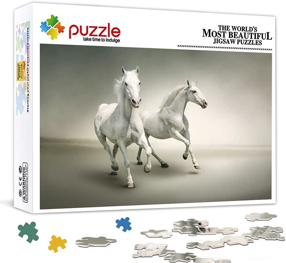 Mini Rompecabezas para Adultos de 1000 Piezas, Dos Caballos Blancos, Animales, cartón, diversión Familiar, Juguetes para niños, 15