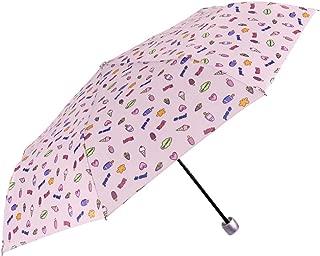 Paraguas Plegable Mujer Rosa Fantasía - Compacto de Viaje Bolso Liso con Estampado Dibujos Divertidos - Ligero Antiviento de Fibra de Vidrio - Manual - PFC FREE - Diametro 97 cm - Perletti Time (Rosa)