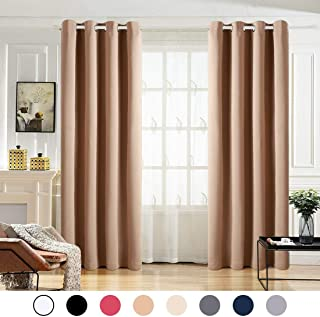MAEVIS 99% Blackout Curtains 2 Panels for Bedroom Grommet Top,Light Blocking Draperies Room Darkening Thermal Insulated Window Curtain for Living Room( W52xL63 inch,Khaki