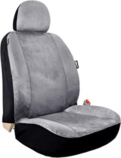 Leader Accessories Velour Super Soft 1pcs Grey Car Front Seat Cover with Headrest Cover Airbag Compatible