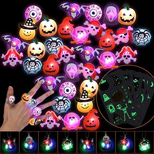 Twister.CK Anillos de Luces LED para Halloween para niños, 54 Piezas de Juguetes con Luces LED para Fiestas, Anillos Intermitentes, Tatuajes para Bolsas de Suministros para Fiestas, Relleno