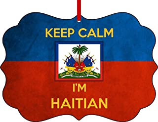 Rosie Parker Inc. Haiti Flag-Keep Calm I'm Haitian-Benelux Aluminum Christmas Ornament with a Red Satin Ribbon/Holiday Hanging Tree Ornament/Double-Sided Decoration/Great Unisex
