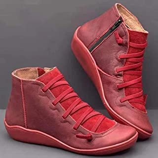 Casual Vintage Zipper Ankle Bootie with Round-Toe Flat Heel Leather Boot