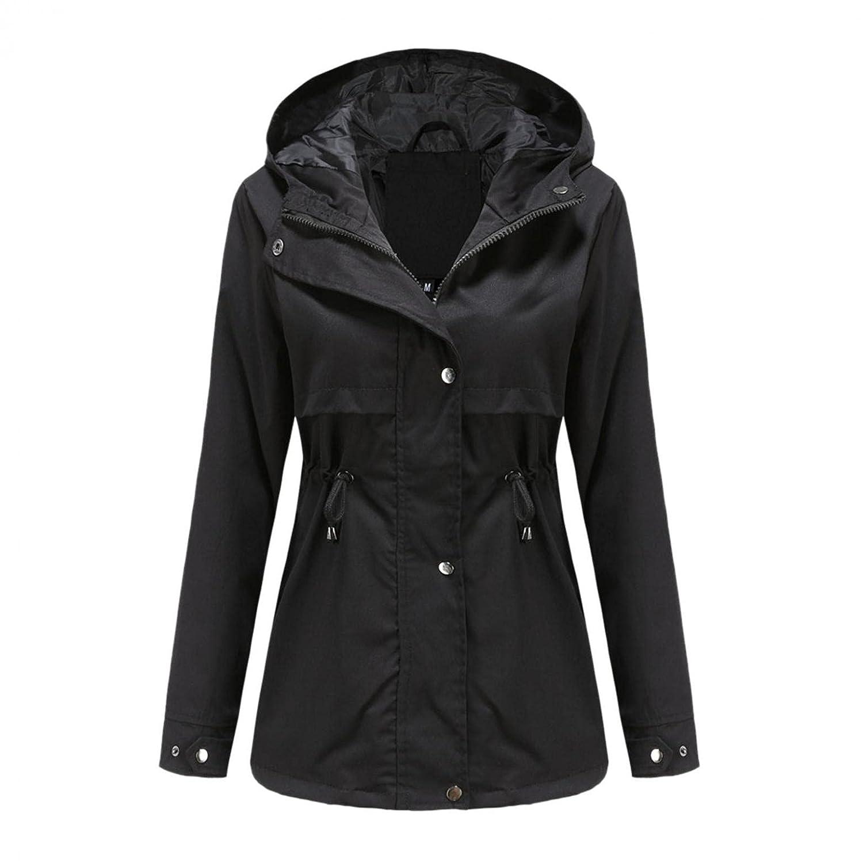 Padaleks Women's Lightweight Raincoat Hooded Waterproof Active Outdoor Rain Jacket with Pockets Belt Windbreaker