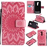 pinlu® PU Leder Tasche Etui Schutzhülle für Wiko Pulp 3G (5 Zoll) Lederhülle Schale Flip Cover Tasche mit Standfunktion Sonnenblume Muster Hülle (Rosa)