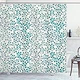 ABAKUHAUS Duschvorhang, Simplistischer Minimalistisches Symmetrisches Muster Aquamarinblauen Farben Digital Druck, Blickdicht aus Stoff inkl. 12 Ringen Umweltfre&lich Waschbar, 175 X 200 cm