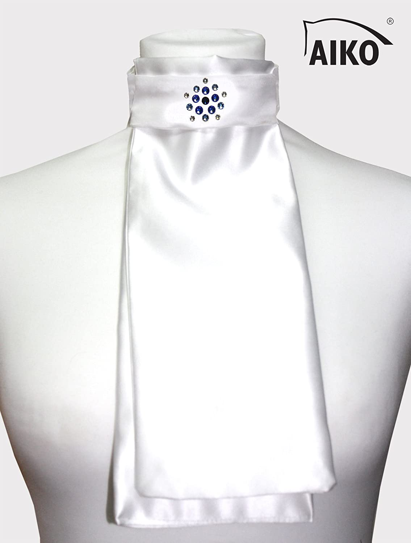 Aiko Plastron - Satin - Weiss NightBlau - Flower Crystal - Rhinestones