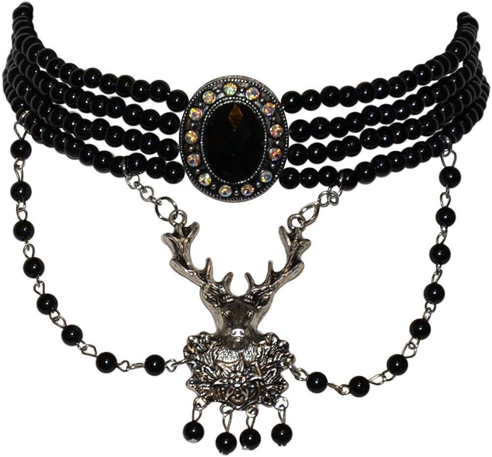 Stag Deer Black Bavarian Choker Necklace for Dirndl
