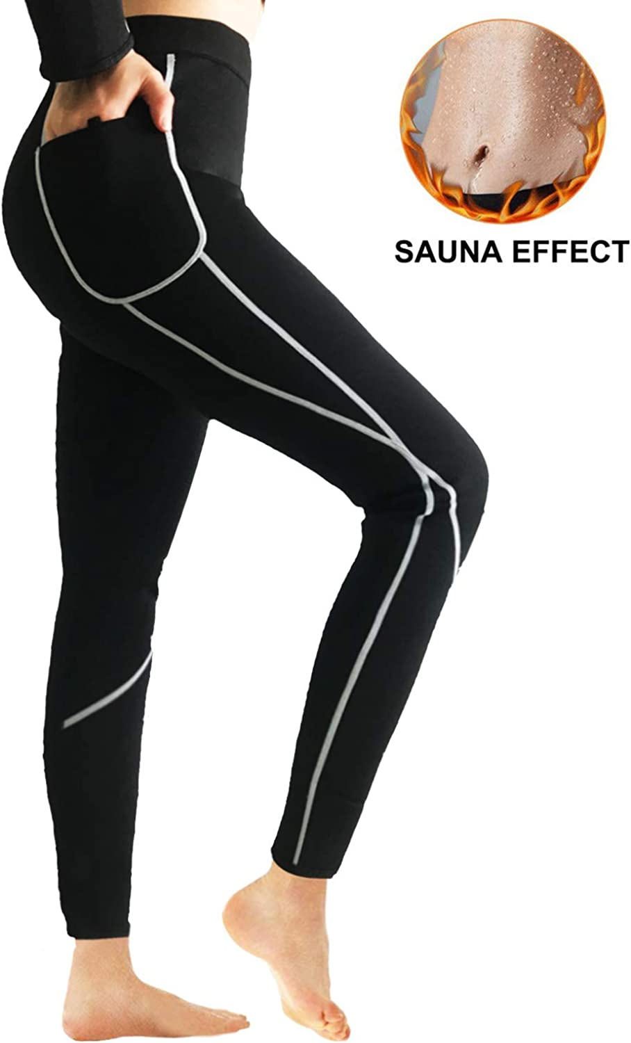 (Large, Black) - QUAFORT Women Sauna Weight Loss Neoprene Pants Hot Sweat Slimming Leggings Thermo Fat Burning Capris with Side Pocket