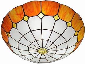 Lampy sufitowe w stylu Tiy do montażu podtynkowego, lampa sufitowa w stylu vintage witrażowy z 16-calowym okrągłym klosze...