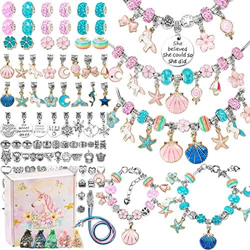 Kit para Hacer Pulseras Niñas,112 PCS Regalo de niña Kit Artesanía DIY Pulsera para Niñas Regalo para Año Nuevo, Cumpleaños, Navidad, a Niñas 5-13 Años