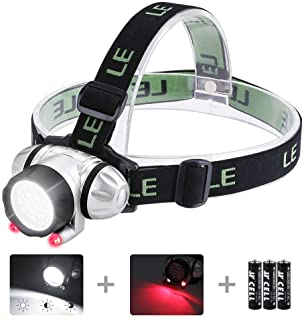 LE Headlamp LED 4 Modes Headlight Battery Powered Helmet Light for Camping Running Hiking and Reading 3 AAA Batteries Incl...