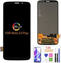 Compatible with Moto Z3 Play Screen Replacement, for Motorola Moto Z3 Play XT1929-1 XT1929-3/4/5/6 XT1929-6M LCD Display Touch Screen Digitizer Assembly Parts,with Screen Protector + Tools(Black)