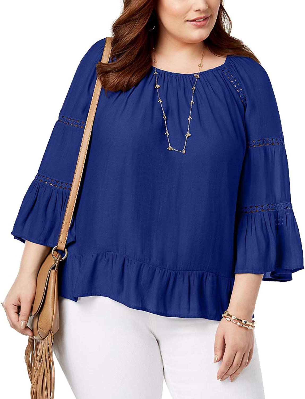 I.N.C. International Concepts Women's Plus Size LaceInset Top